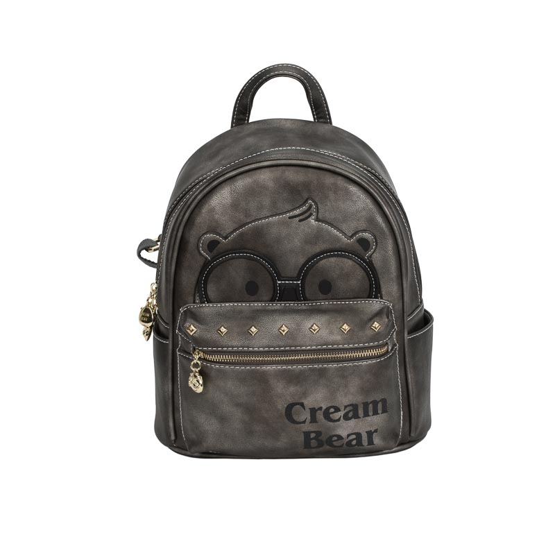 backpack grey cream bear-1