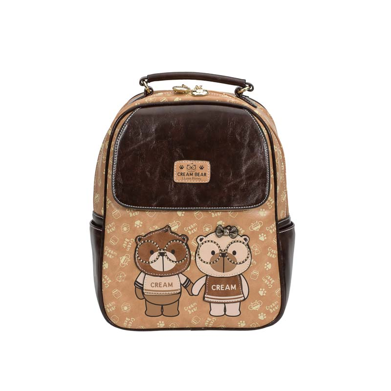 cream bear backpack brown-1