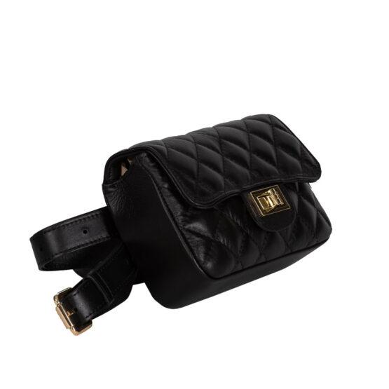 belt bag black italian handmade-1