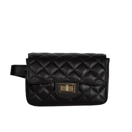 belt bag black italian handmade