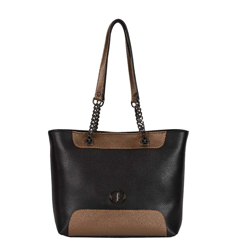 greek handmade bag omou black- bronze