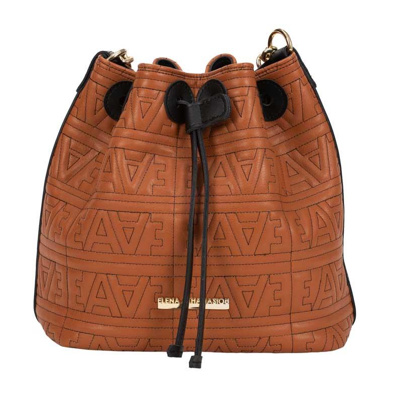 ... ΤΣΑΝΤΑ LOGO POUCH BAG COGNAC GOLD METAL-ELENA ATHANASIOU. pouch bag  logo metal ea taba 1ab2d58e814