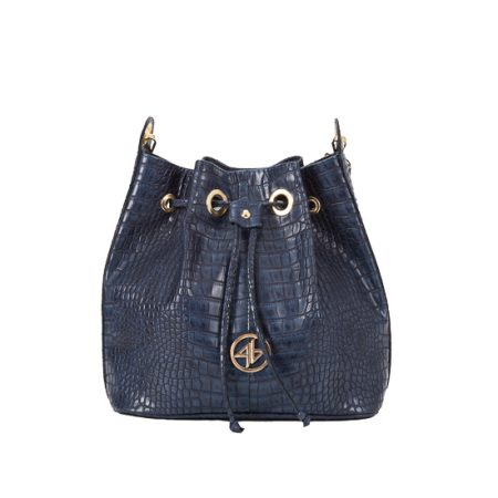 kroko blue pouch bag
