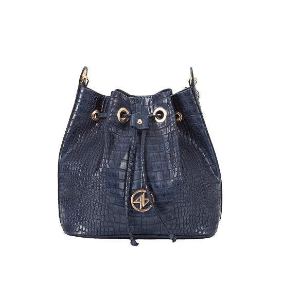 kroko blue pouch bag
