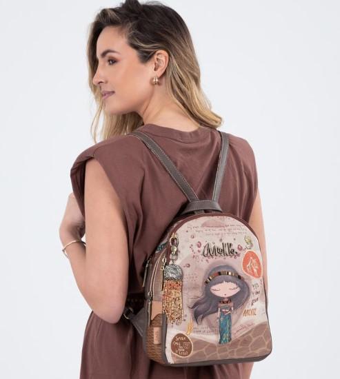 AN brown beige backpack-1