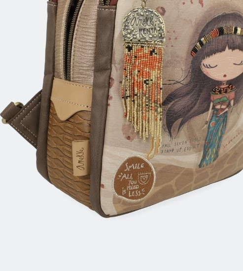 AN brown beige backpack-5