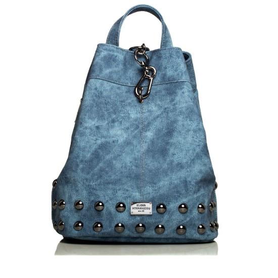 backpack jean pattern blue-nikel